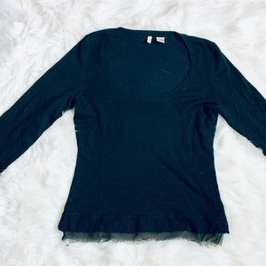 ANTHRO by Moth Black ScoopNeck Sweater-S *F585*